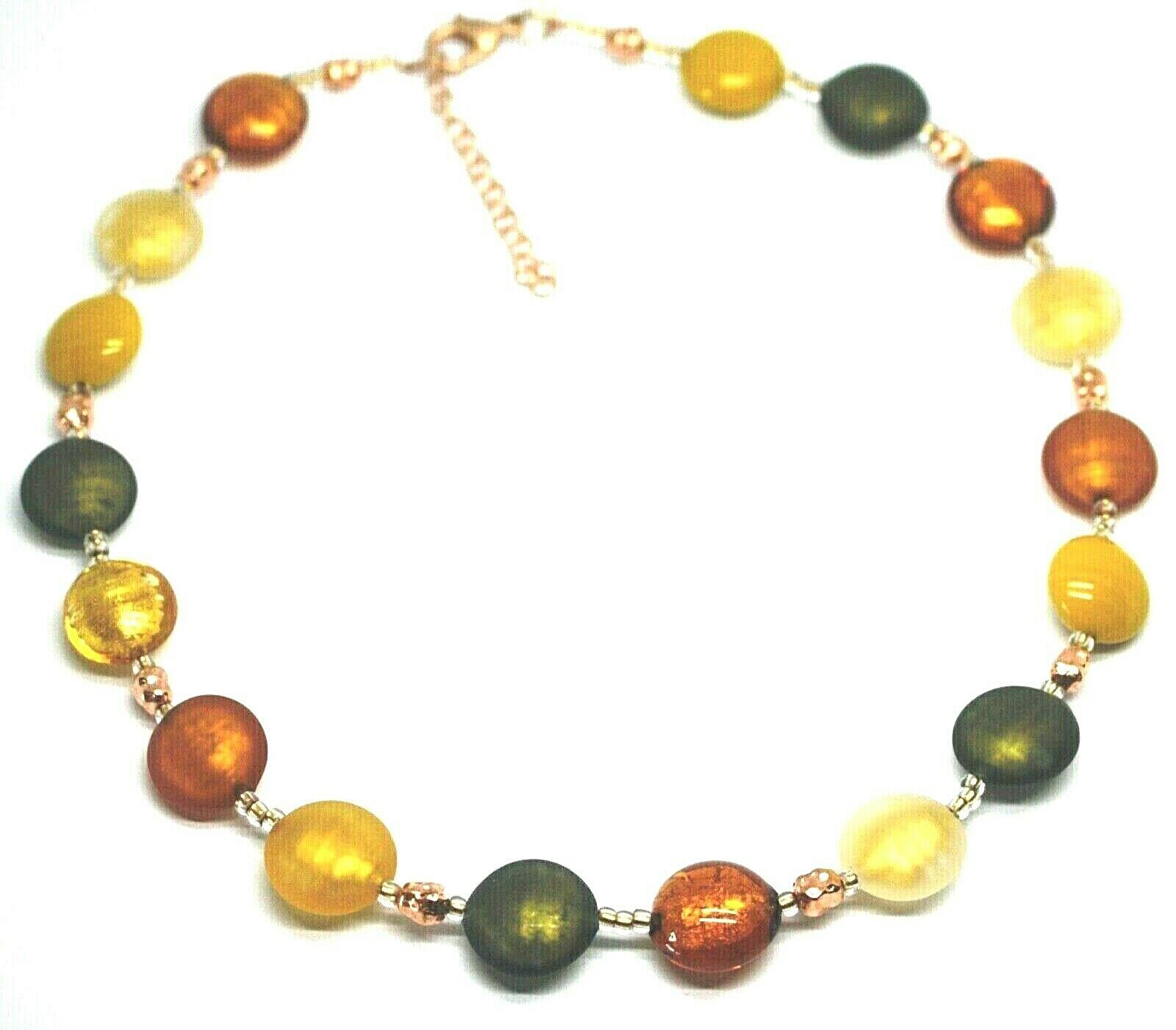 "NECKLACE GREEN ORANGE YELLOW ROUNDED MURANO GLASS DISC, 45cm 18"", MADE IN ITALY"