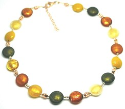 "NECKLACE GREEN ORANGE YELLOW ROUNDED MURANO GLASS DISC, 45cm 18"", MADE IN ITALY image 1"