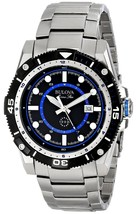 Bulova Men's 98B177 Marine Star Quartz Black and Blue Dial Stainless Ste... - $225.00