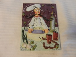 Italian Chef Rolling Dough 3-Dimensional Resin Wall Plaque by Joanna - $29.69