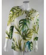 Chico's Womens Size 0 Green White Floral Adjustable Tie Neckline Blouse EUC - $13.09