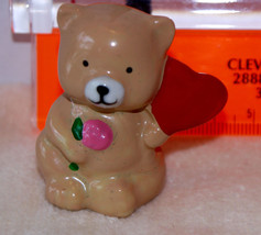 Miniature porcelain brown bear figurine holding a flower and valentine h... - $3.61