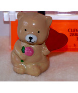 Miniature porcelain brown bear figurine holding a flower and valentine h... - $4.95