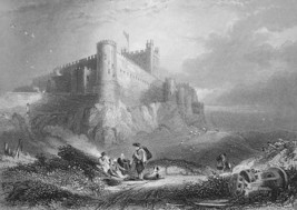 ENGLAND Bamborough Castle - 1860s Engraving Print - $16.20