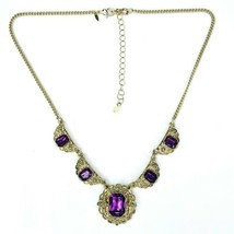 """Avon Signed Goldtone Purple Faceted Acrylic Gem Flower Chain Necklace 17-20"""" - $17.45"""