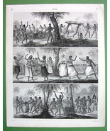 PACIFIC ISLANDS Natives Tonga Australia Women Dance - 1844 Antique Engra... - $12.15