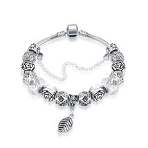Bracelet: Petite Ivory Cream Leaf Branch Pandora Inspired Bracelet - $446,76 MXN