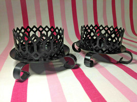 Lovely Mid Century 2pc Black Metal Cut Out Pod Candle Holders Scrollwork... - $10.00