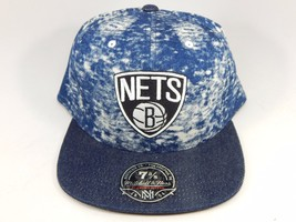 Brooklyn Nets Mitchell & Ness Size 7 5/8 Crown Fitted NBA Cap Hat Denim Blue