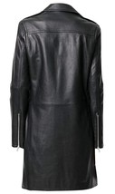 Womens Mid Length Slim Fit Lapel Collar Black Leather Trench Coat image 4