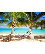 OFILA Tropical Beach Backdrop 9x6ft Palm Trees Blue Sea Water Summer Vac... - $26.53