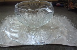 L.E. Smith slewed horse shoe pattern platter punch bowl cups - $125.00