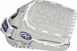 RAWLINGS Sure Catch Series Fastpitch Softball Glove, Purple/Grey/White, Right Ha