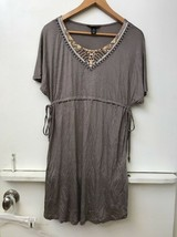 H&MMAMA Taupe Beaded Sequined Neckline Dress Tunic Top Short Sleeve Size... - $24.95