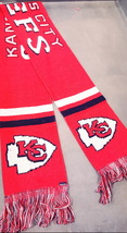 "Brand New Team Scarf Kansas City Chiefs Nfl Knit Red Team Scarf 68"" By 7"" - $14.79"