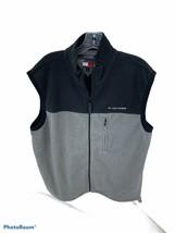 Tommy Hilfiger Fleece Vest Black/Grey Full Zip Size Large L 2002 - $11.70