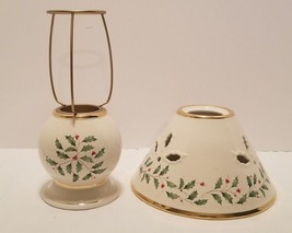 Nice MWT Lenox Holiday Holly Leaves & Berries Tealight Candle Holder Lam... - $17.46