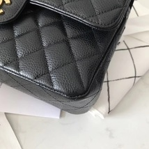 NEW AUTHENTIC CHANEL 2018 BLACK CAVIAR SMALL DOUBLE FLAP BAG GHW RARE image 5