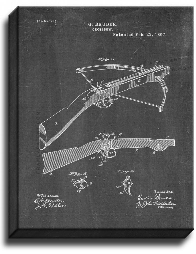 Primary image for Crossbow Patent Print Chalkboard on Canvas