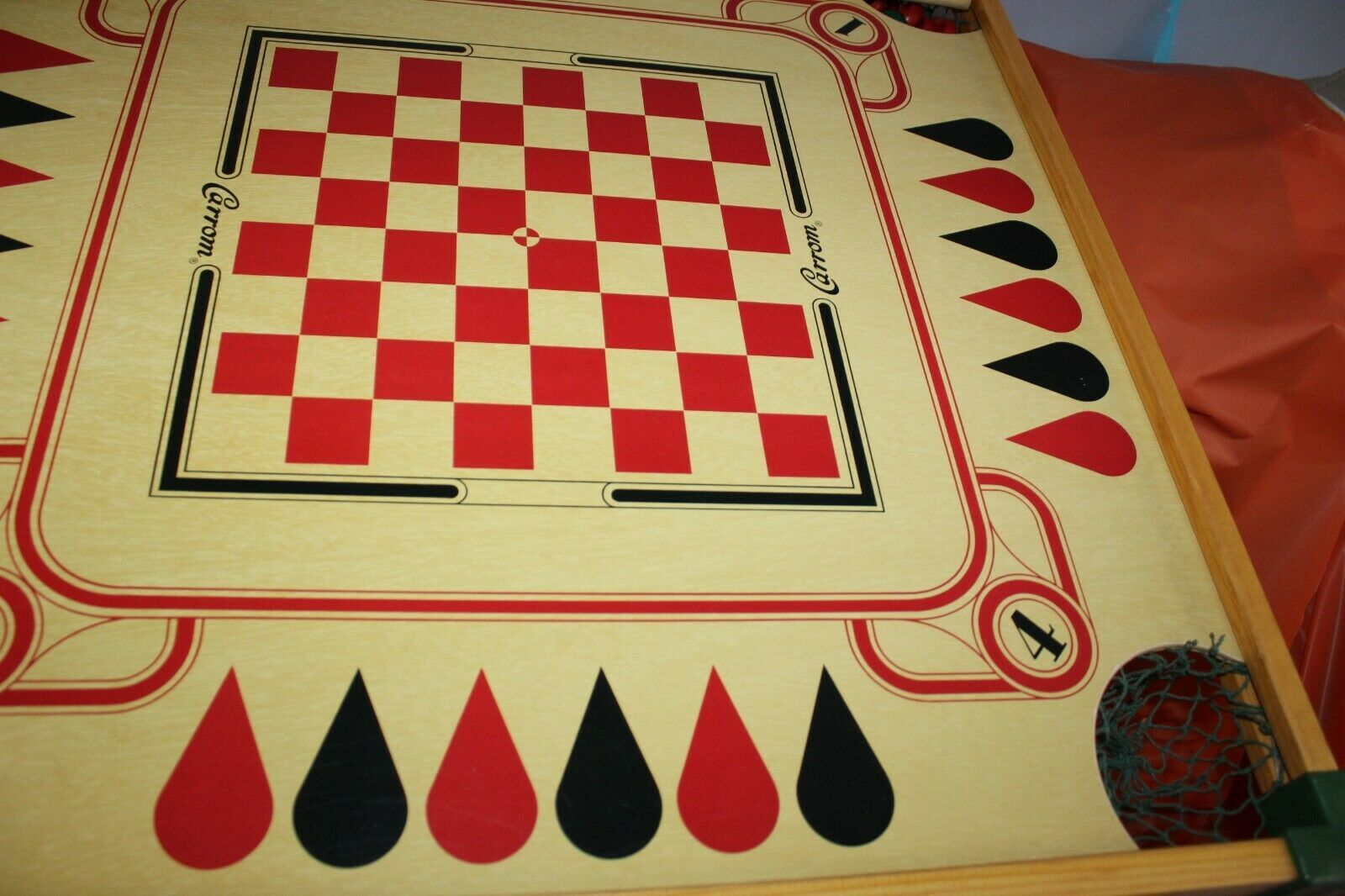Carrom Gameboard With Cue Sticks Billiards Checkers Chess Backgammon And More