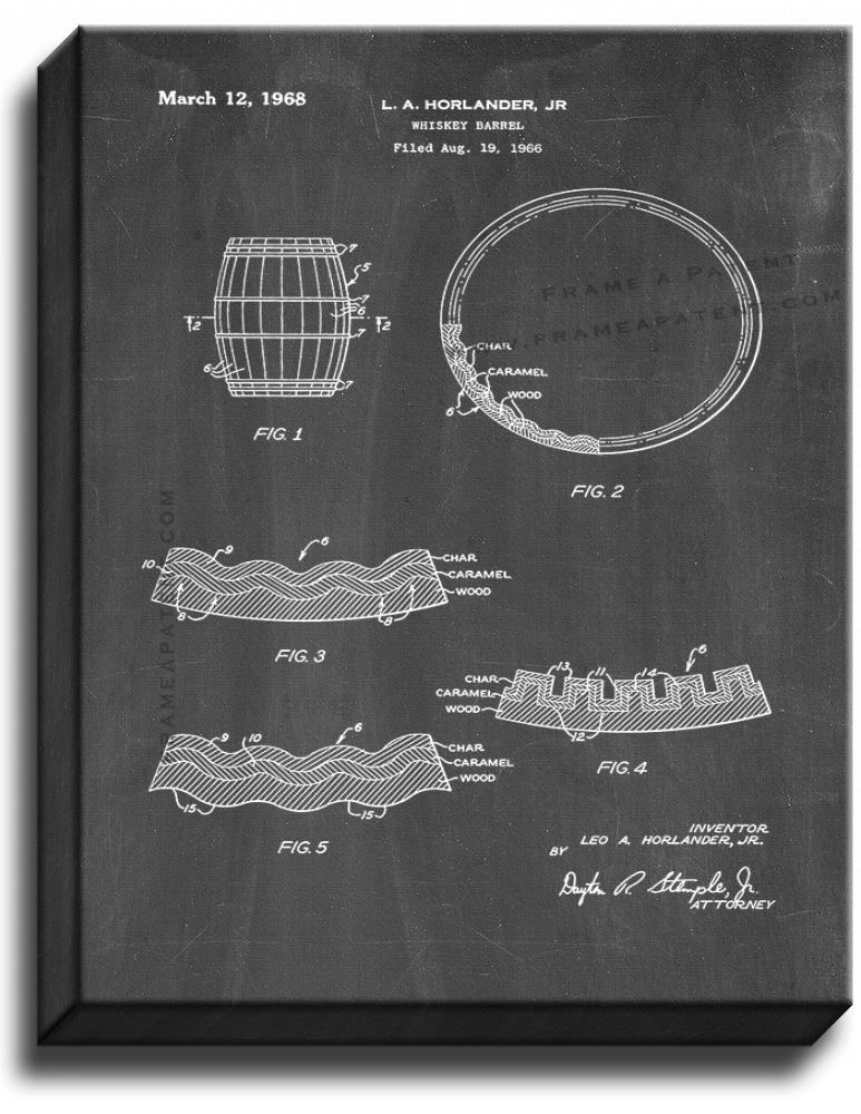 Primary image for Whiskey Barrel Patent Print Chalkboard on Canvas