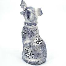Hand Carved Kenyan Kisii Soapstone Speckled Gray White Happy Puppy Dog Figurine image 3