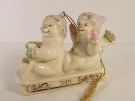 Lenox Sledding Snowpals Snowman Ornament COA 24 k Gold Fine China 2001 - $19.79