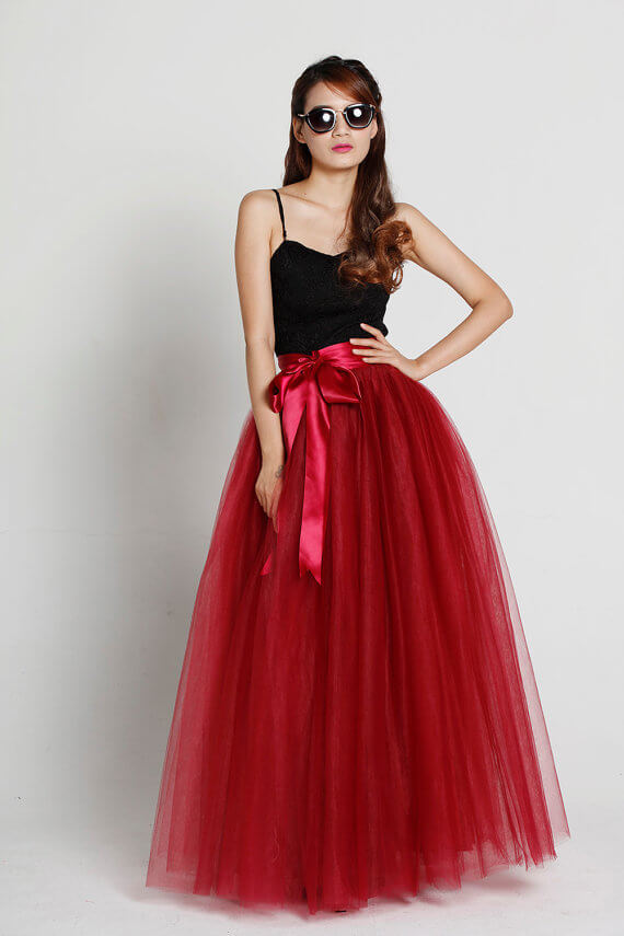 Adult Long Red Tulle Skirt 4-Layered Floor Length Tulle Skirt Plus Size