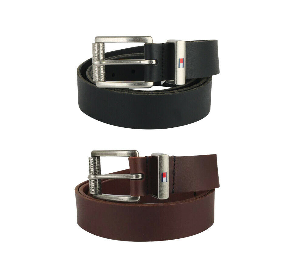 Tommy Hilfiger Men's Premium Logo Casual Solid Leather Belt 11TL02XZ50