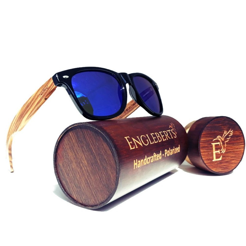 Primary image for Zebrawood Sunglasses with Blue Polarized Lenses and Case