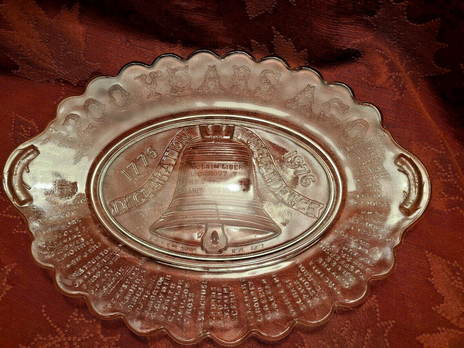 200 Years Ago Declaration Independence Pressed Glass Platter - Anchor Hocking