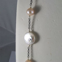 .925 SILVER RHODIUM NECKLACE 33,46 In, BAROQUE ROSE PEARL, ROUND & SPHERE SHAPE. image 6