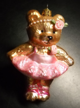 Teddy Bear Christmas Ornament Pink Ballet Outfit Roses Pearls Glass Orna... - $9.99
