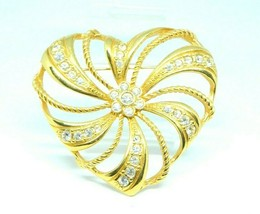 AVON Clear Rhinestone Large Gold Tone Heart Openwork Brooch Pin Vintage - $19.79