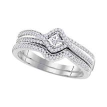 10k White Gold Princess Diamond Bridal Wedding Engagement Ring Band Set 1/3 Cttw - $539.00
