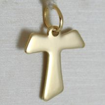 Flat yellow gold cross 750 18k pendant Franciscan tau,, san francesco, Italy image 5