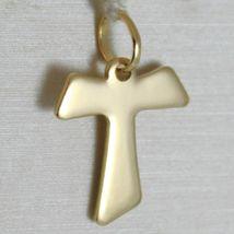 Flat yellow gold cross 750 18k pendant Franciscan tau,, san francesco, Italy image 5