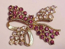 Vintage Cranberry color Rhinestones Bowtie Brooch Pin Unsigned - $27.95
