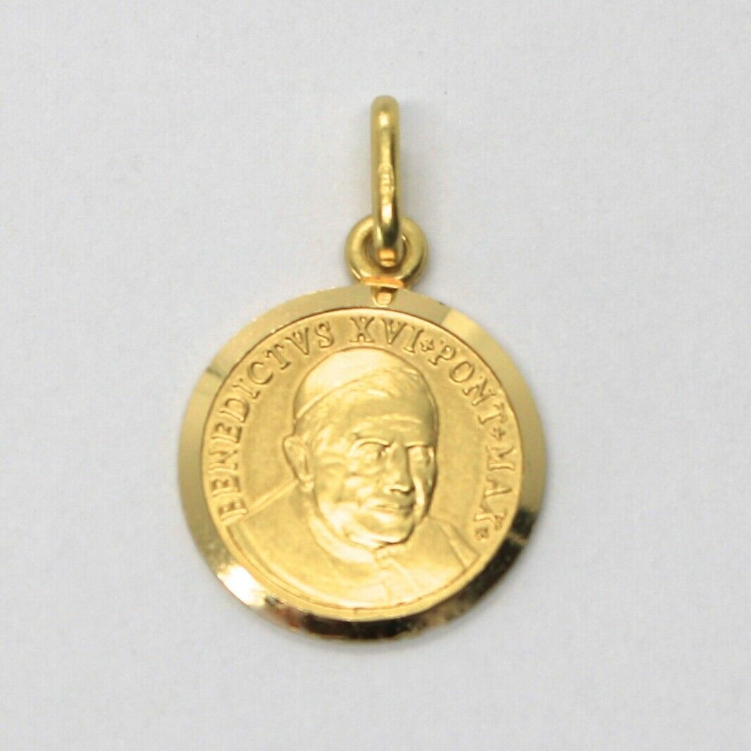 SOLID 18K YELLOW GOLD POPE BENEDICT XVI, 15 MM MEDAL PENDANT, MADE IN ITALY image 2