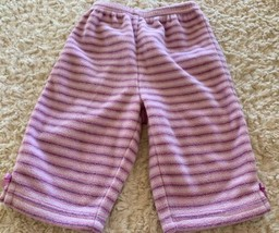 Just One Year Girls Purple White Striped Bows Fleece Pants 6 Months - $3.00