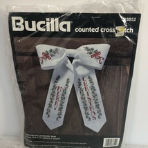Vintage 1996 Bucilla Xmas Cross Stitch Kit 83652 Deck the Walls Holiday Bow - $7.18