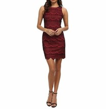 Jessica Simpson Dress Sz 6 Beet Red Black Scalloped Lace Sheath Cocktail Dres   - $73.73