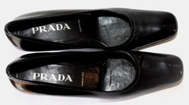 Prada Black Patent Leather Square Toe Pump Heel Shoes Size 36 - $51.10
