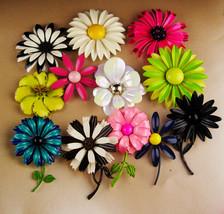 Fabulous 1950'S Flower pin lot - Retro big enamel flower brooch - estate... - $235.00