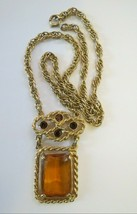 Vintage Sarah Coventry Wild Honey Necklace Emerald Cut Rhinestone Gold Tone - $26.72