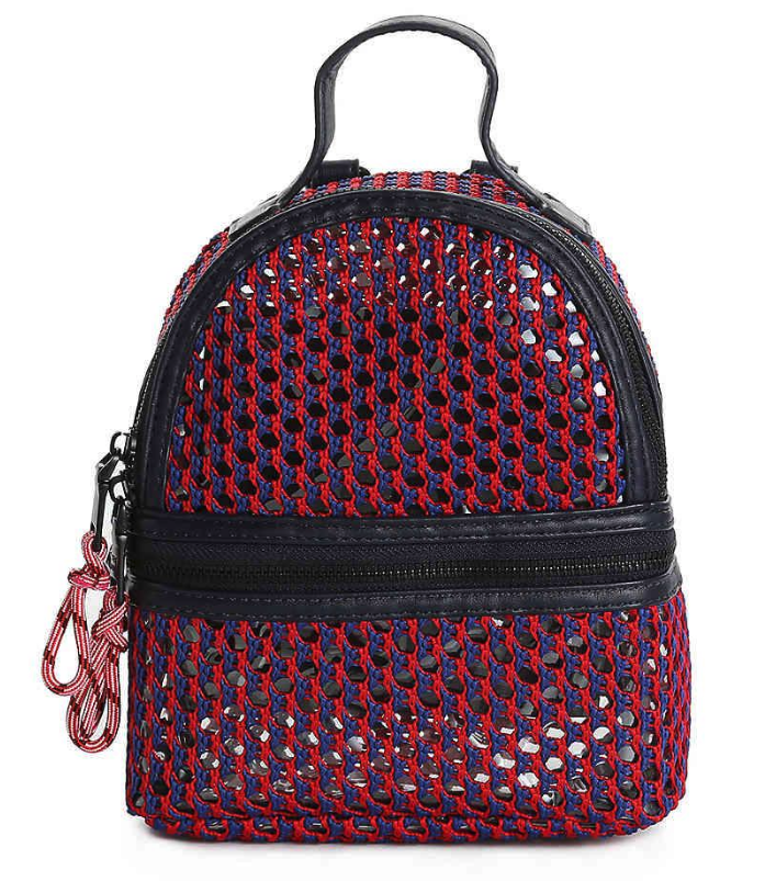 NEW Steve Madden Btanya Red Blue Mesh Clear Mini Convertible Backpack MSRP $68