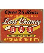 Last Chance Gas Mechanic Garage Beer Metal Sign Tin New Vintage Style US... - $10.29
