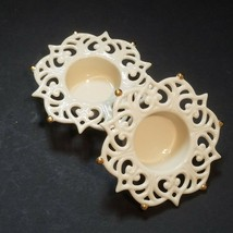 Lenox Snow Lights Sparkle Votives China Cream with Gold Accents set of 2... - $19.75
