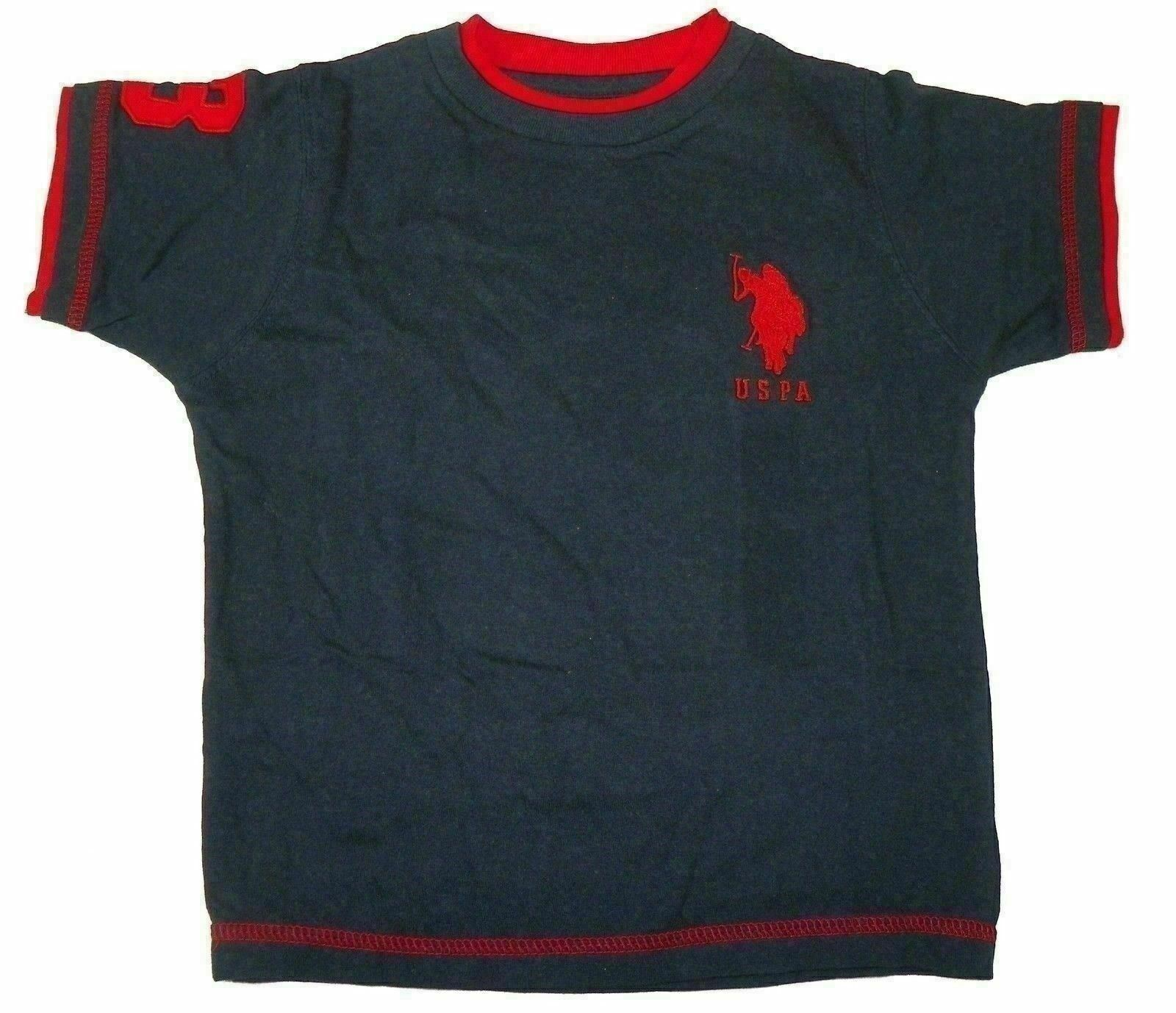 Size 4 U.S. Polo Assn. Shirt Boy's Double Crew Tee Navy with Red Logo
