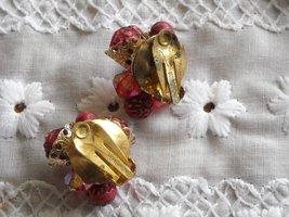 Vintage Two Strand Necklace & Earrings Aurora Borealis Plastic Beads Rasberry image 5